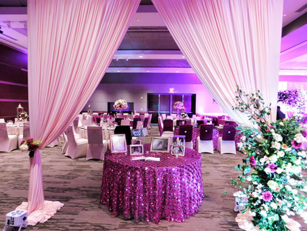 Grand Hall Quinceanera with custom entry draping