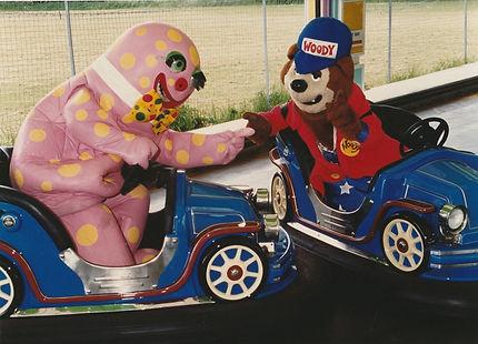 Mr Blobby and Woody Bear on the Dodgems