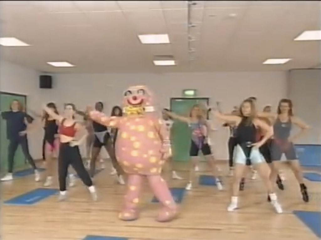 Mr Blobby attempts to get fit.