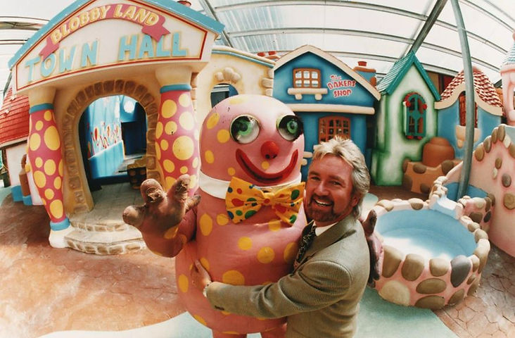Noel Edmonds and Mr Blobby at Crinkley Bottom at Cricket St Thomas