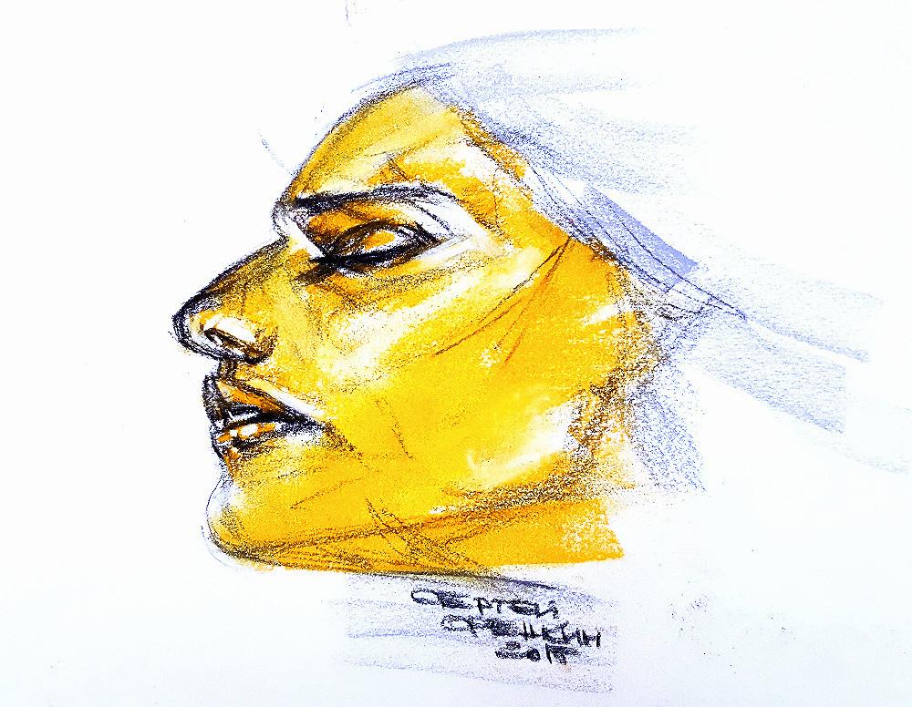 Female potrrait. Sergei Oreshkin. 2015.40x40 cm. Pastel.