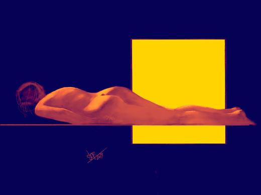Yellow window. Figurative  sketch. Sergey Oreshkin. 2019, digital pen.