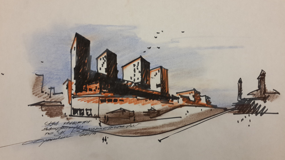 Sketch for the masterplan of the center of Ufa. 2014. Sergey Oreshkin.