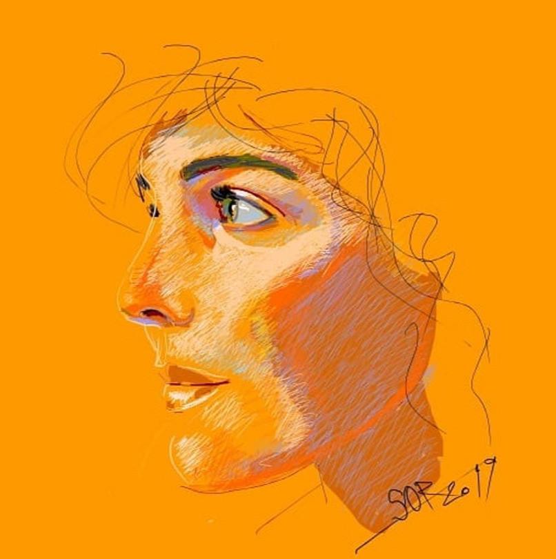Young girl portrait. Sketch. Sergey Oreshkin. 2019. Pastel on paper.