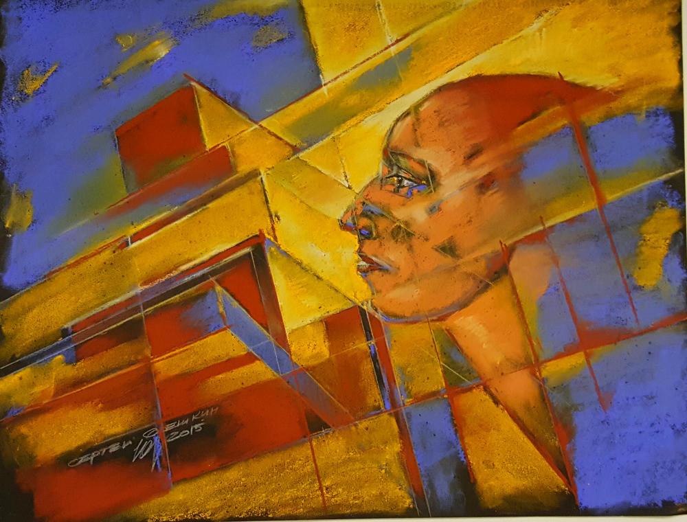 Architectural composition. Sergey Oreshkin. 2016. Pastel, paper, 40x50cm.  Архитектурная композиция. Сергей Орешкин. 2016. Пастель, бумага, 40х50см.