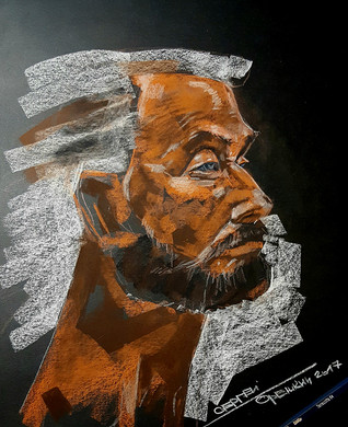 Old man portrait. Sketch. Sergey Oreshkin. 2017. Pastel on paper.