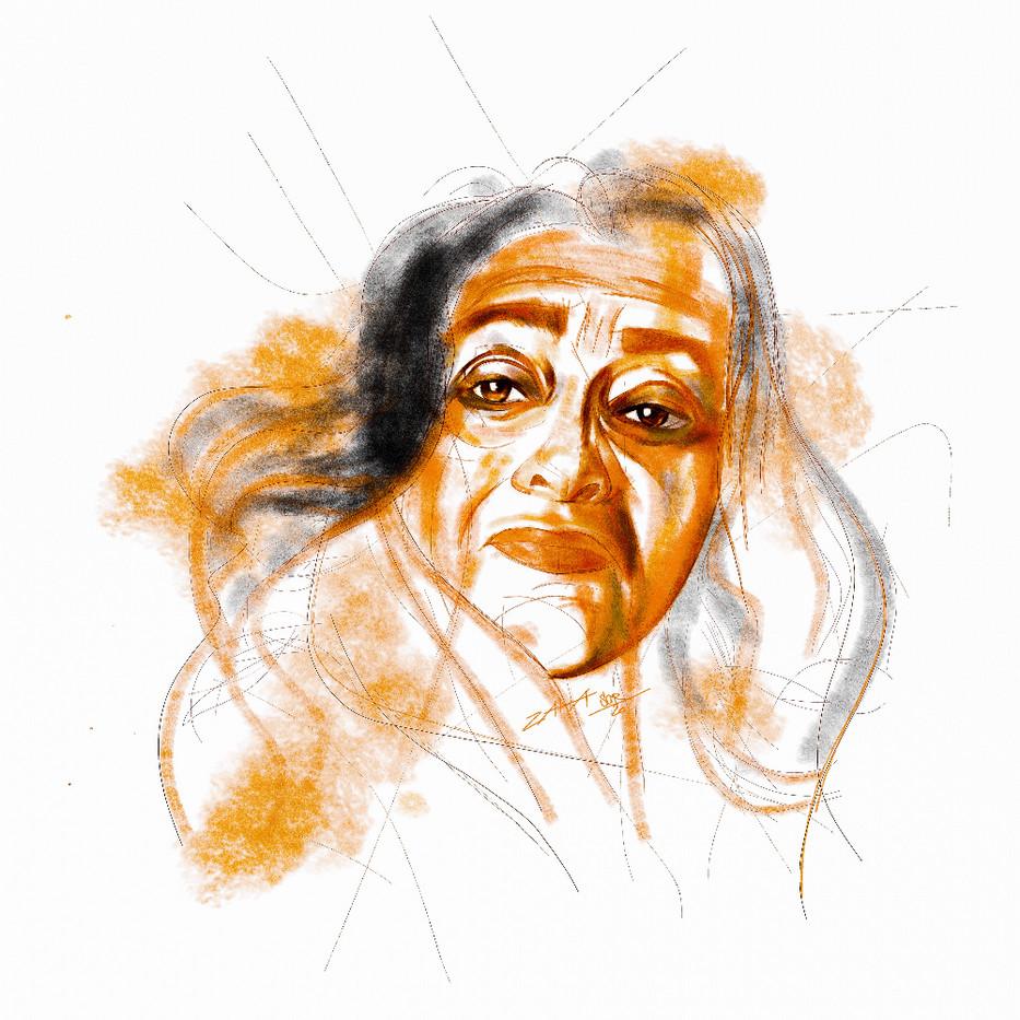 ZAHA HADID. Sergei Oreshkin. 2019.40x40 cm. Pastel. Pencil.