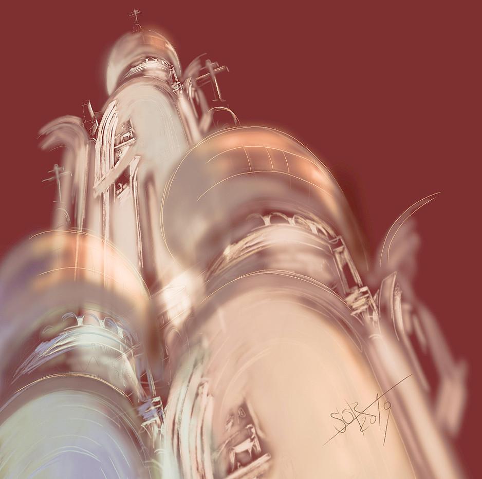Church of the Intercession on the Nerl. Free architectural composition. Sergey Oreshkin. 2019. Architectural Graphics.  Храм Покрова на Нерли. Свободная архитектурная композиция .  Сергей Орешкин. 2019. Architectural Graphics.
