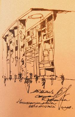 Sketch for the design of the arbitration court building in Nizhny Novgorod. 2012. Sergey Oreshkin.