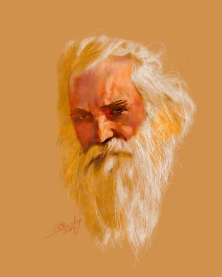 Portrait of an old man. Sergei Oreshkin. 2019.60x40 cm.