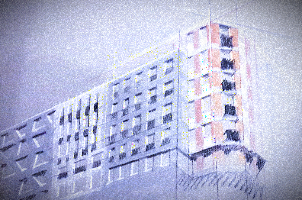 Sketch for the project of a residential building in St. Petersburg. 2017. Sergey Oreshkin.