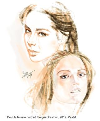 Double portrait. Sketch. Sergey Oreshkin. 2019. Pastel on paper.