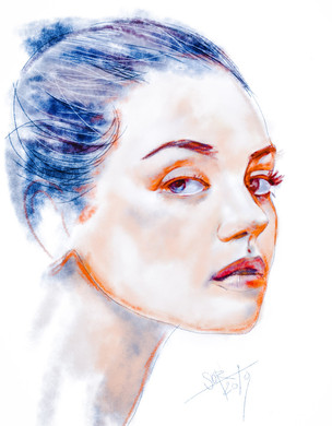 Young girl ortrait. Sketch. Sergey Oreshkin. 2019. Pastel on paper.