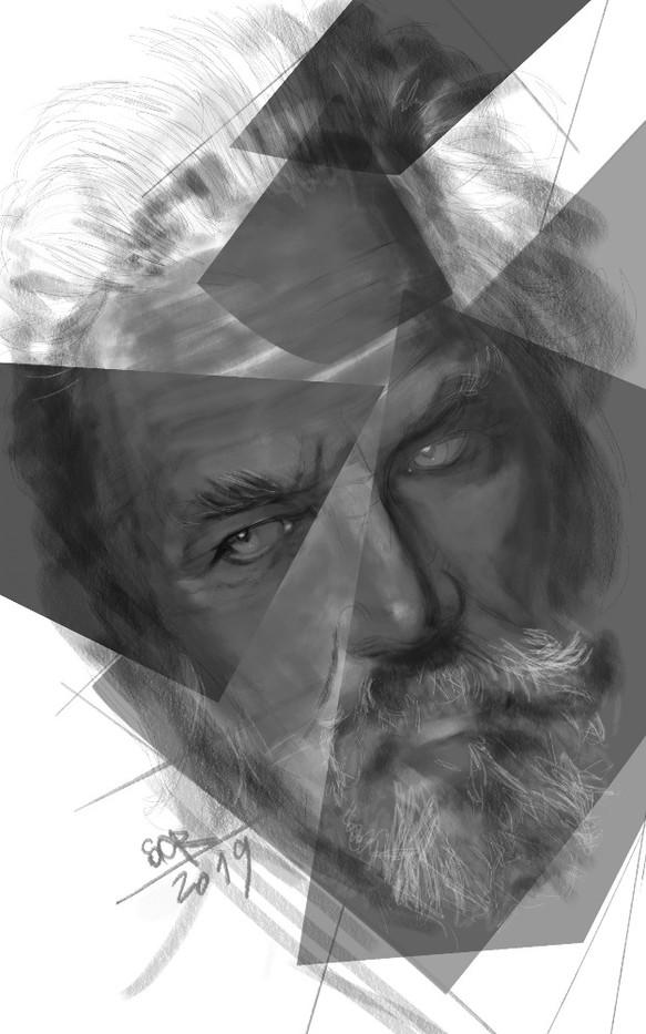 Portrait of an old man. Sergei Oreshkin. 2019.60x40 cm. Digital art.