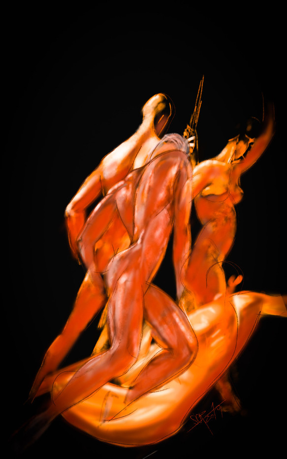 Sergei Oreshkin. Figure multiplesketch. 2019. Pastel, pen, paper, 40x80 cm.