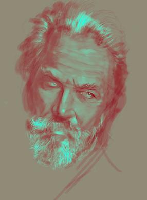 Old man portrait. Sketch. Sergey Oreshkin. 2019. Pastel on paper.