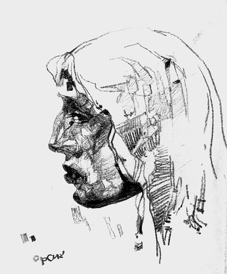 Male portrait. Sketch. Sergey Oreshkin. 1982. Pencil on paper.