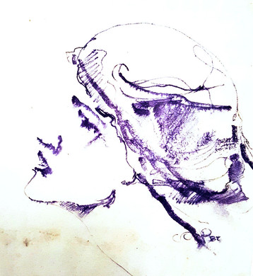 Female potrrait. Sergei Oreshkin. 1982.20x20 cm. Indelible pencil.