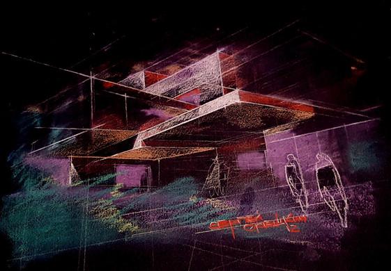 Architectural fantasy A-101. Sergei Oreshkin. 2016. Architectural Graphics. Preliminary sketch for the new villa project .