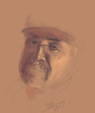 Self-portrait. Sketch. Sergey Oreshkin. 2019. Pastel on paper.