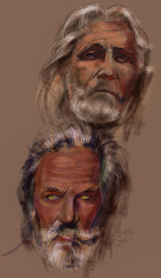 Pair of muscular portrait. Brutal mature long-haired old men. Psychological sketch sketch. Sergey Oreshkin. 2019. Pastel on paper.