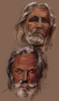 Pair of muscular portrait. Brutal mature long-haired old men. Psychological sketch sketch. Sergey Oreshkin. 2019. Pastel on paper.