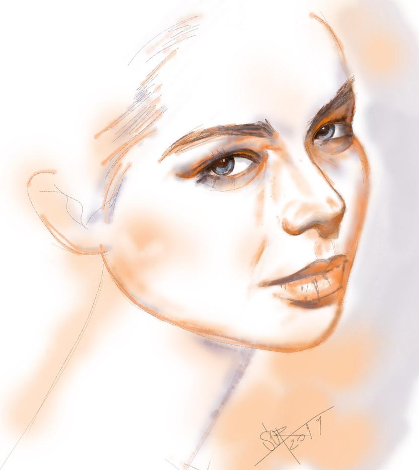 Female potrrait. Sergei Oreshkin. 2019.40x40 cm. Pastel.