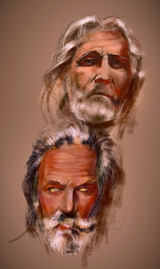 Doubles man portrait. Double portraits always create a special psychological interaction between the characters.Sketch. Sergey Oreshkin. 2019. Pastel on paper.