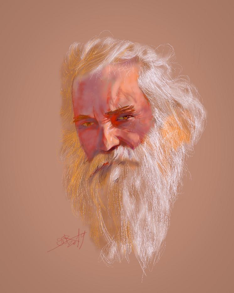 Portrait of an old man. Sergei Oreshkin. 2019.60x40 cm. Pastel.