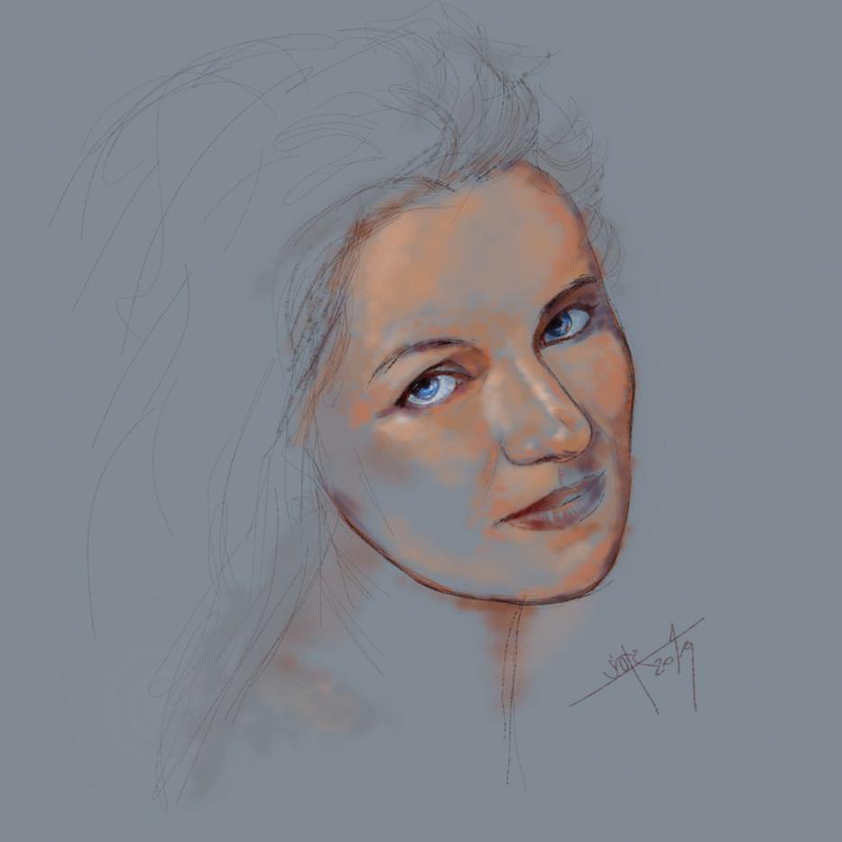 Female portrait.  Sketch. Sergey Oreshkin. 2019. Pastel on paper.