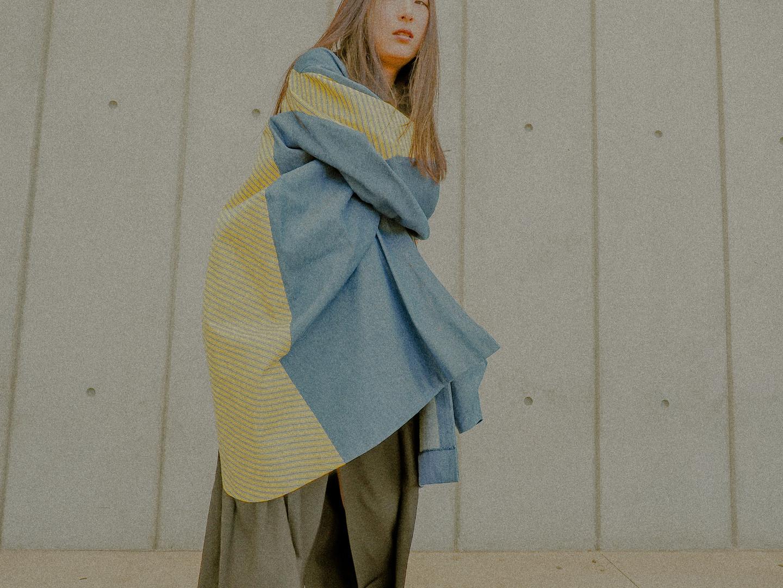 color blocking denim jacket