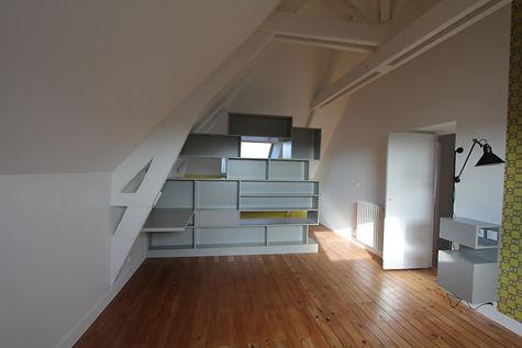 Bibliothèque sous comble, Menuiserie MERCERON Fabrice