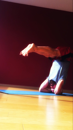 David France in Headstand
