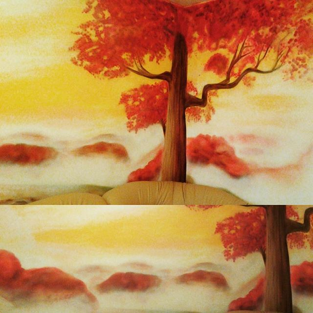 #artwork by #spraypaint #cans #red #sakura #tree #landscape #nature #yellow #sky #interior #painting