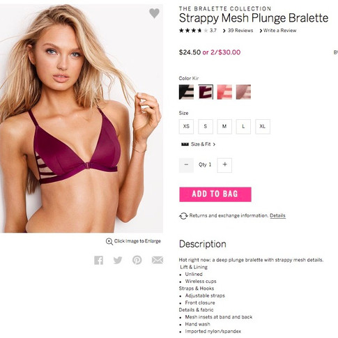 Victoria's Secret Product Copy