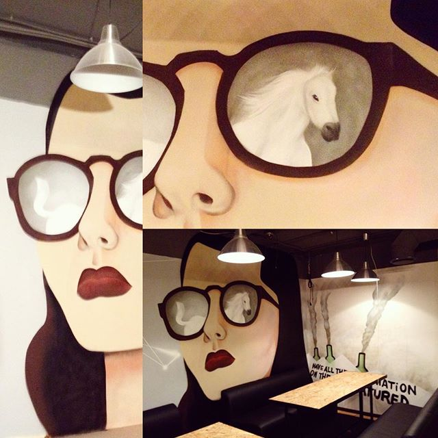 #artwork by #spraypaint #cans #interior #painting #girl  #see the #white #horse in #sun #glasses