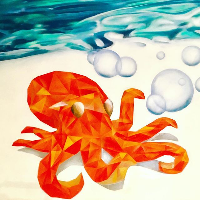 #artwork by #spraypaint #cans #orange #octopus #triangle  #polygon #water #bubbles #interior #painti