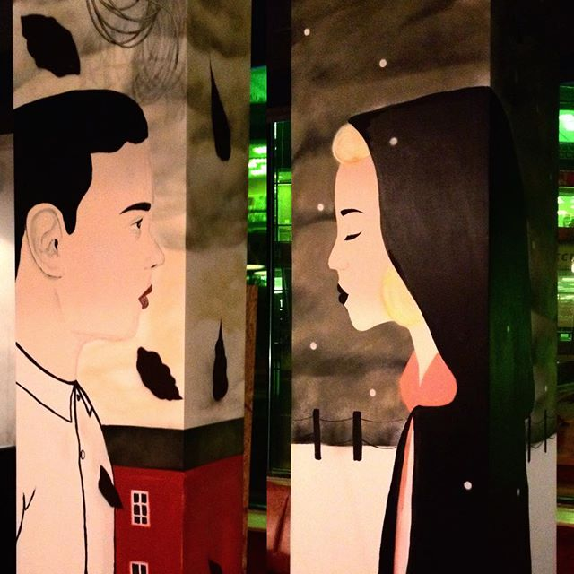 #interior #painting #columns #mixedmedia and #spraypaint #cans #people of #fall and #winter