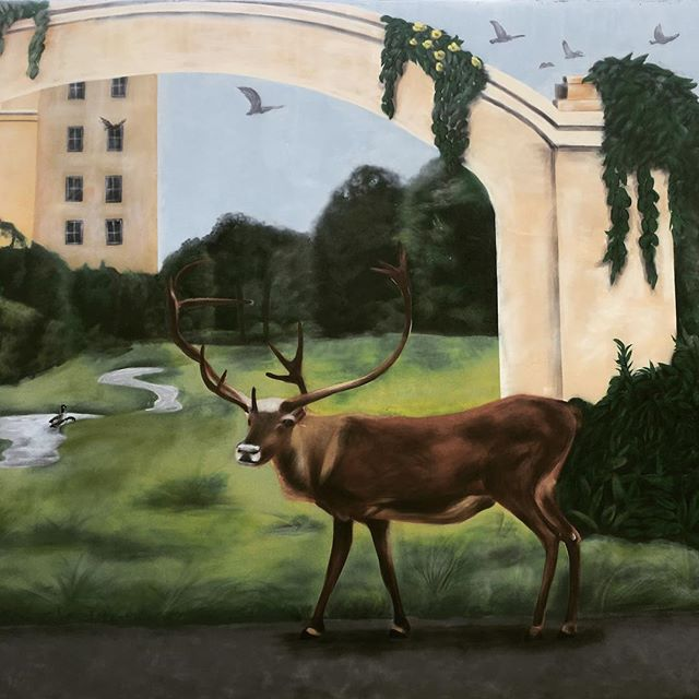 #artwork by #spraypaint #cans #photorealism #graffiti #illusion #nature #river #deer  #birds in the
