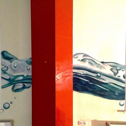 #artwork by #spraypaint #cans #water #wave #interior #painting #photorealism #graffiti #art
