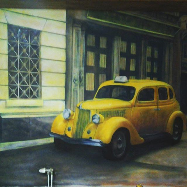 #artwork by #spraypaint #cans #interior #painting #classic #London #yellow #taxi #cab #architecture