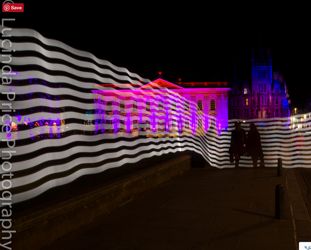 Lucinda Price photography shot of senate house and Gonvile & Caius college with light painting overlaid