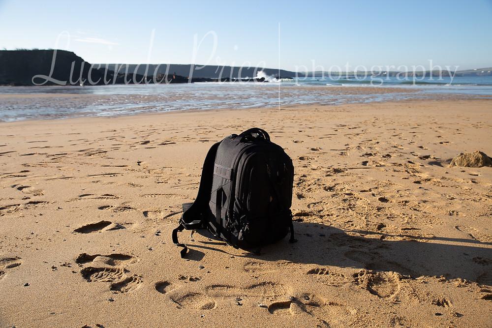Camera bag on beach