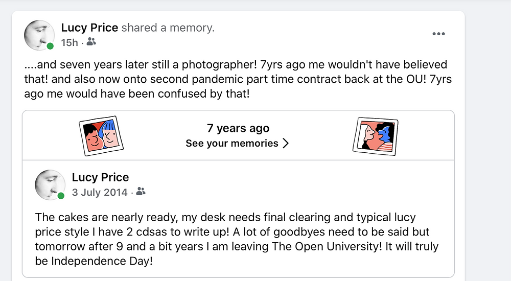 Facebook screenshot noting message from 7 years ago as I was leaving and new comment excited I'm still here 7 years later