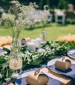 Wooden table setup for garden party or d