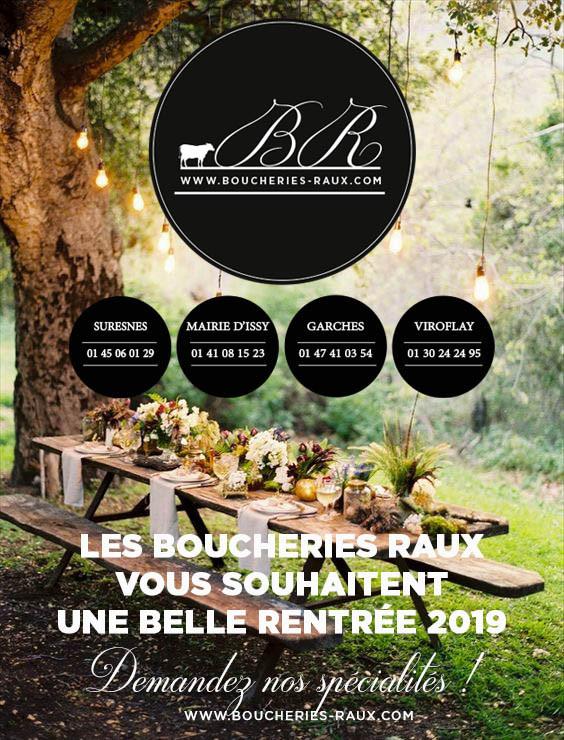 Les Boucheries RAUX vous souhaitent une belle rentrée 2019 -