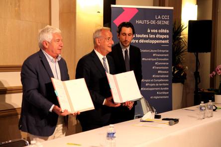 Patrick Ponthier Président CCI 92 + Le maire M. Jacques Kossowski + David BREXEL Conseille