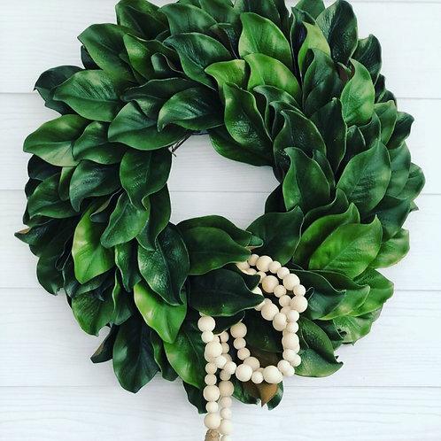 dried magnolia wreath