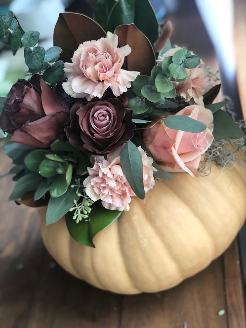 """""""Shelby"""" floral topped pumpkin"""