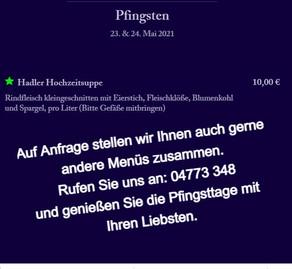 Speisekarte zu Pfingsten 2021